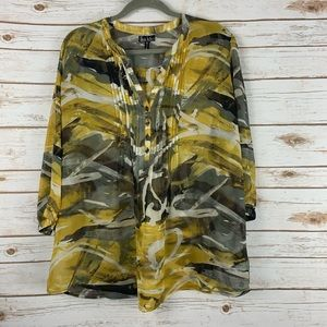 Nicole Miller blouse top XL tunic 1/2 button front